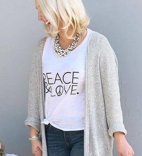 PEACE & LOVE Tee, Black Ink, Peace Tee, Love Tee, Peace and Love, Valentine's Day Tshirts, Heart Shirts, Peace and Love, Love Tshirts