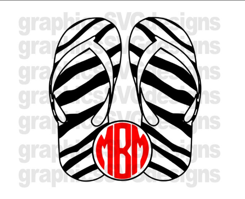 6ddb1f16115b Zebra Print Flip Flop Beach Monograms SVG File Summer svg For