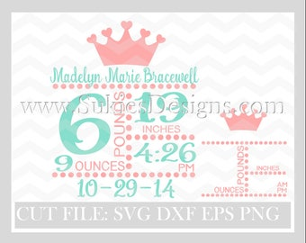Newborn Subway Art Template SVG, DXF, PNG Files for Cricut and Silhouette cutting  Newborn svg Girl svg, svg Baby Girl svg, Subway art svg