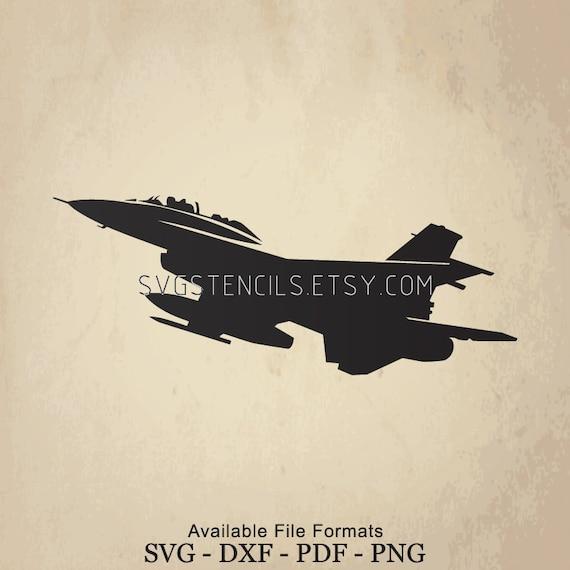 Svg F16 Jet Fighter Stencil Silhouette Studio Monogram Etsy