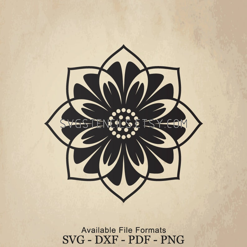 Svg Mandala Lotus Flower Silhouette Studio Monogram Etsy