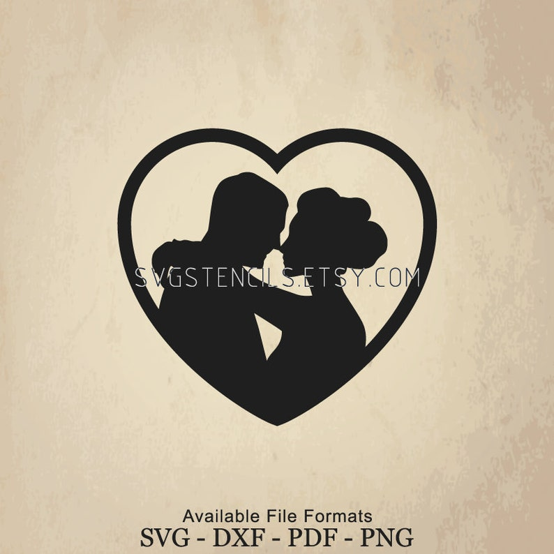 SVG Vector Monogram Silhouette Images for Cut Files or Prints Clip Art Love and Kiss Stencil Black Studio