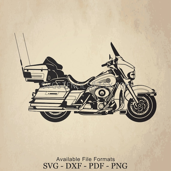 Svg Harley Motorcycle Electra Glide Stencil Silhouette Studio Monogram Black Vector Clip Art Images For Cut Files Or Prints