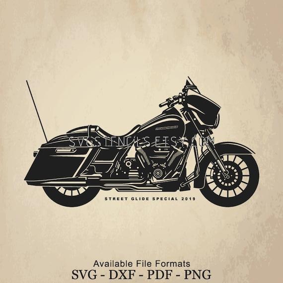 Svg Harley Davidson Street Glide Special 2019 Silhouette Studio Monogram Black Vector Clip Art Images For Cut Files Or Prints