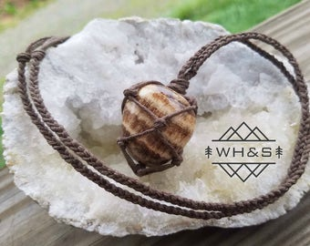 Hemp Wrapped Brown Aragonite Necklace, Polished Aragonite Jewelry, Healing Crystal Jewelry, Healing Crystal Necklace, Stone Pendant