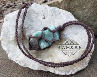 Emerald Hemp Wrapped Necklace, Adjustable