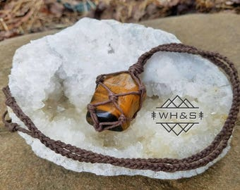 Hemp Wrapped Golden Tigers Eye Necklace, Gold Tigers Eye Jewelry, Healing Crystal Jewelry, Healing Crystal Necklace, Tiger's Eye Pendant