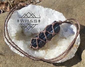 Black Rough Tourmaline Hemp Wrapped Necklace, Raw Tourmaline Jewelry, Healing Crystal Jewelry, Healing Crystal Necklace, Stone Pendant