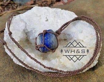 Hemp Wrapped Lapis Lazuil Necklace, Polished Lapis Lazuil Jewelry, Healing Crystal Jewelry, Healing Crystal Necklace, Natural Lapis
