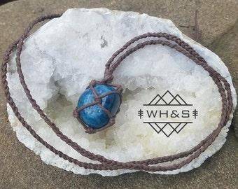 Hemp Wrapped Blue Apatite Necklace, Polished Apatite Jewelry, Healing Crystal Jewelry, Healing Crystal Necklace, Stone Pendant