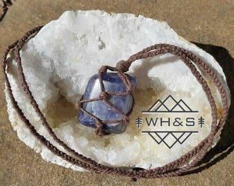 Hemp Wrapped Iolite (Cordierite) Necklace, Polished Iolite Jewelry, Healing Crystal Jewelry, Healing Crystal Necklace, Stone Pendant
