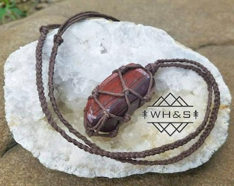 Hemp Wrapped Red Tigers Eye Necklace, Tigers Eye Jewelry, Healing Crystal Jewelry, Healing Crystal Necklace, Tiger's Eye Pendant