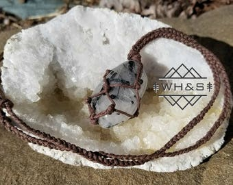 Black Tourmaline Quartz Hemp Wrapped Necklace, Tourmalinated Quartz Pendant, Healing Crystal Jewelry, Healing Crystal Necklace