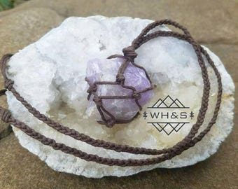 Rough Amethyst Hemp Wrapped Necklace, Raw Amethyst Pendant, Healing Crystal Jewelry, Healing Crystal Necklace, Natural Stone Necklace