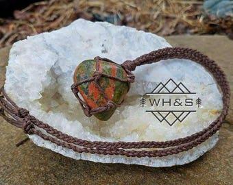 Hemp Wrapped Unakite Necklace, Unakite Jewelry, Healing Crystal Jewelry, Healing Crystal Necklace, Unakite Pendant