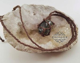 Hemp Wrapped Kambaba Jasper Necklace, Crocodile Jasper Pendant, Gemstone Jewelry, Healing Crystal Jewelry, Healing Crystal Necklace