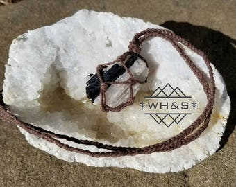 Rough Tourmaline Quartz Hemp Wrapped Necklace, Raw Tourmalinated Quartz Pendant, Healing Crystal Jewelry, Healing Crystal Necklace