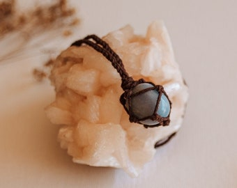 Angelite (aka anhydrite or angel stone) Hemp Necklace, Adjustable