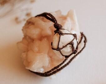 Scolecite Hemp Necklace, Adjustable
