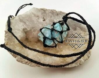 Hemp Wrapped Rough Amazonite Necklace, Raw Amazonite Jewelry, Healing Crystal Jewelry, Healing Crystal Necklace, Stone Pendant