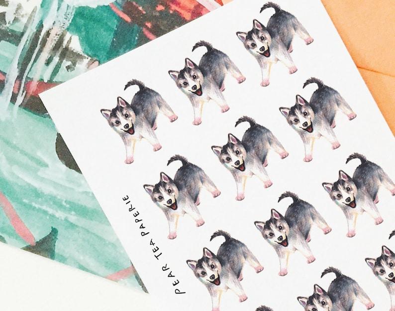 Cute Siberian Husky Stickers Puppy Series Planner Stickers Weekly Sticker Art Erin Condren Kawaii Puppies Cute Dogs Stickers