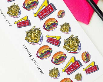 In n out stickers, burger stickers, Planner Stickers, Scrapbooking, Filofax, TN Stickers, Planning decoration