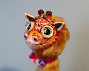 "Funny giraffe – cute creature. Artist made doll. Natural Clay ceramics, 4"" OOAK OlVik Dolls Art doll animal. Ukraine Artist"