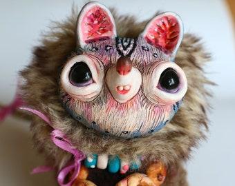 "Gray mouse – cute and good magic creature. Artist made doll. Natural Clay ceramics, 4"" OOAK OlVik Dolls Art doll animal. Ukraine Artist"
