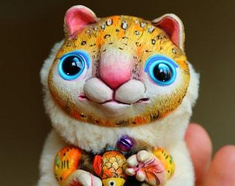 "Yellow cat - cute and good magic creature. Artist made doll. Natural Clay ceramics, 4"" OOAK OlVik Dolls Art doll animal. Ukraine Artist"