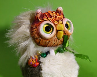 "Sweet Owlet – cute creature. Artist made doll. Natural Clay ceramics, 4"" OOAK OlVik Dolls Art doll animal. Ukraine Artist"
