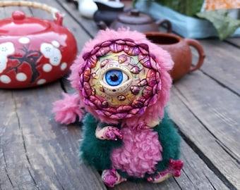 "Twilight flower - cute creature. Artist made doll. Natural Clay ceramics, 4"" OOAK OlVik Dolls Art doll animal. Pet doll, craft toy."