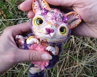 "Forest cat - cute creature. Artist made doll. Natural Clay ceramics, 4"" OOAK OlVik Dolls Art doll animal. Ukraine Artist"