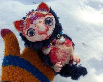 "Winter cat - cute creature. Artist made doll. Natural Clay ceramics, 4"" OOAK OlVik Dolls Art doll animal. Ukraine Artist"