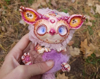 "Forest gremlin - cute creature. Artist made doll. Natural Clay ceramics, 4"" OOAK OlVik Dolls Art doll animal. Pet doll, craft toy."