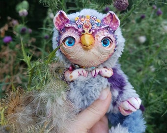 """Magical griffin - cute creature. Artist made doll. Natural Clay ceramics, 4"""" OOAK OlVik Dolls Art doll animal. Pet doll, craft toy."""