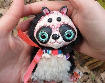 """Panda kung fu – cute magic creature. Artist made doll. Natural Clay ceramics, 4"""" OOAK OlVik Art doll stuffed animal"""