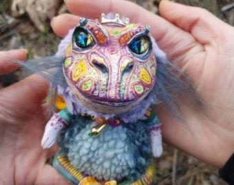 "Princess frog - cute creature. Artist made doll. Natural Clay ceramics, 4"" OOAK OlVik Dolls Art doll animal. Ukraine Artist"