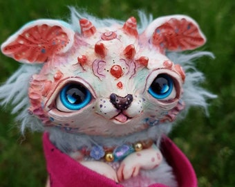 "Spring rabbit - cute creature. Artist made doll. Natural Clay ceramics, 4"" OOAK OlVik Dolls Art doll animal. Ukraine Artist"