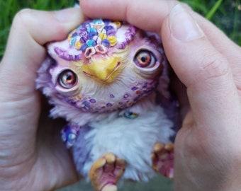 "Garden owl - cute creature. Artist made doll. Natural Clay ceramics, 4"" OOAK OlVik Dolls Art doll animal. Ukraine Artist"