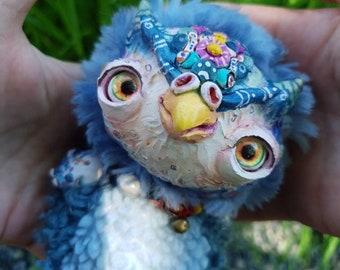"Morning owl - cute creature. Artist made doll. Natural Clay ceramics, 4"" OOAK OlVik Dolls Art doll animal. Ukraine Artist"