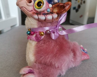 "Drakaris star - cute creature. Artist made doll. Natural Clay ceramics, 4"" OOAK OlVik Dolls Art doll animal. Ukraine Artist"