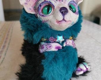 "Magic wolf cat – cute creature. Artist made doll. Natural Clay ceramics, 4"" OOAK OlVik Dolls Art doll animal. Ukraine Artist"