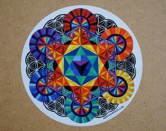 """Sacred Geometry Sticker -6""""x6"""" (of a painting.)"""
