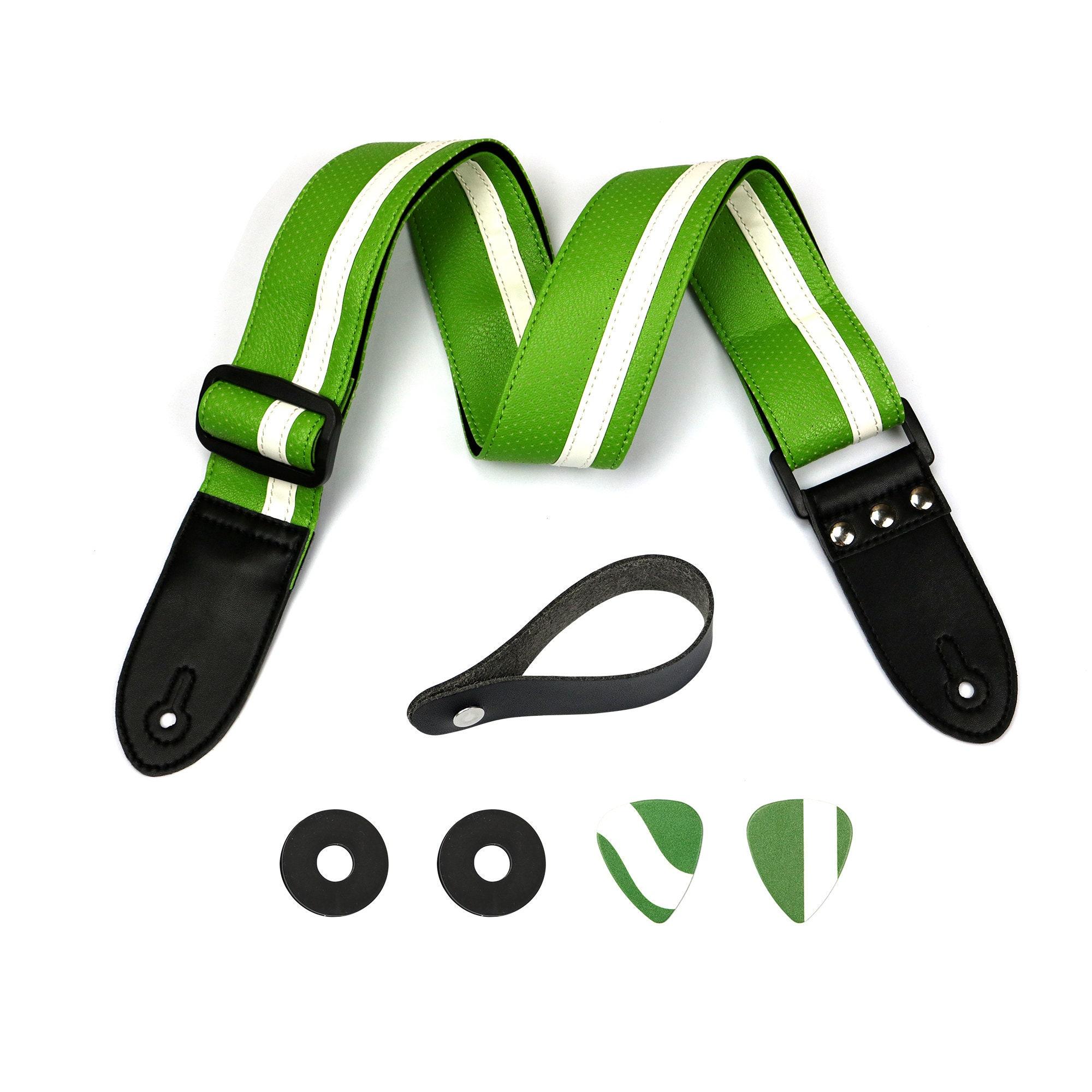 leather guitar strap the green stripe 2 guitar strap etsy. Black Bedroom Furniture Sets. Home Design Ideas