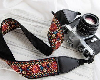 Vintage Camera Strap, Embroider Floral Camera strap For Canon, Nikon and Sony