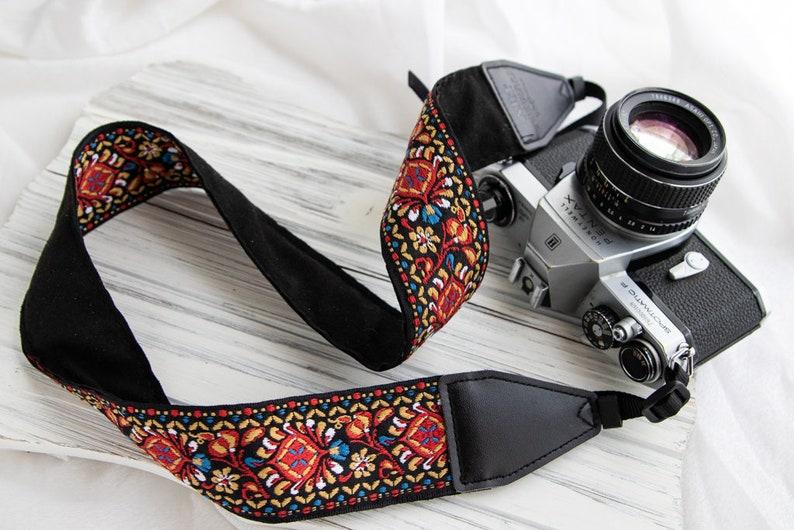 Vintage Camera Strap Embroider Floral Camera strap For Canon Red