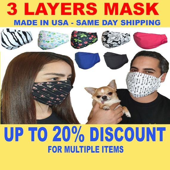 MASKERAID Black Zebra Cotton Face Mask Mouth Nose Reusable Machine Washable