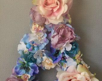 Flower wall deco,letter, floral, initials,baby shower,nursery,wedding,birthday gift