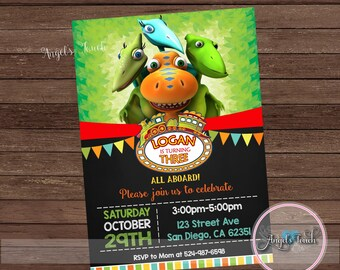 Dinosaur Party Invitation Birthday Train Digital File