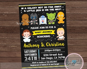 Baby Shower Invitation Star Wars Party Space Digital File